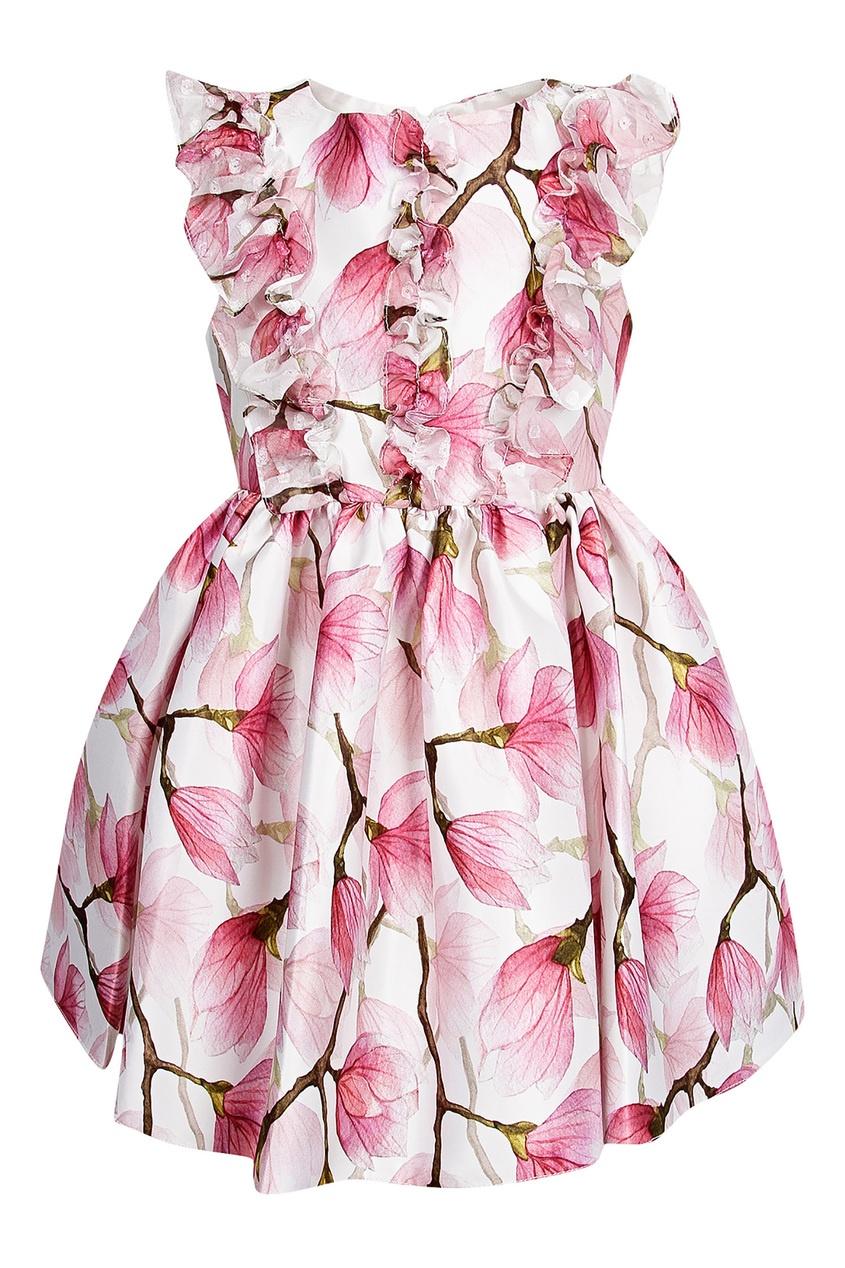 Купить Платье с принтом и рюшами белого цвета