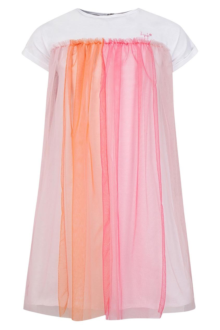 Купить Белое платье с драпировкой цвет multicolor