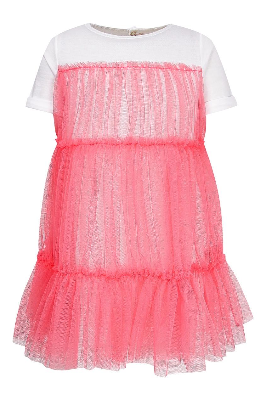 Купить Белое платье с розовой сеткой розового цвета