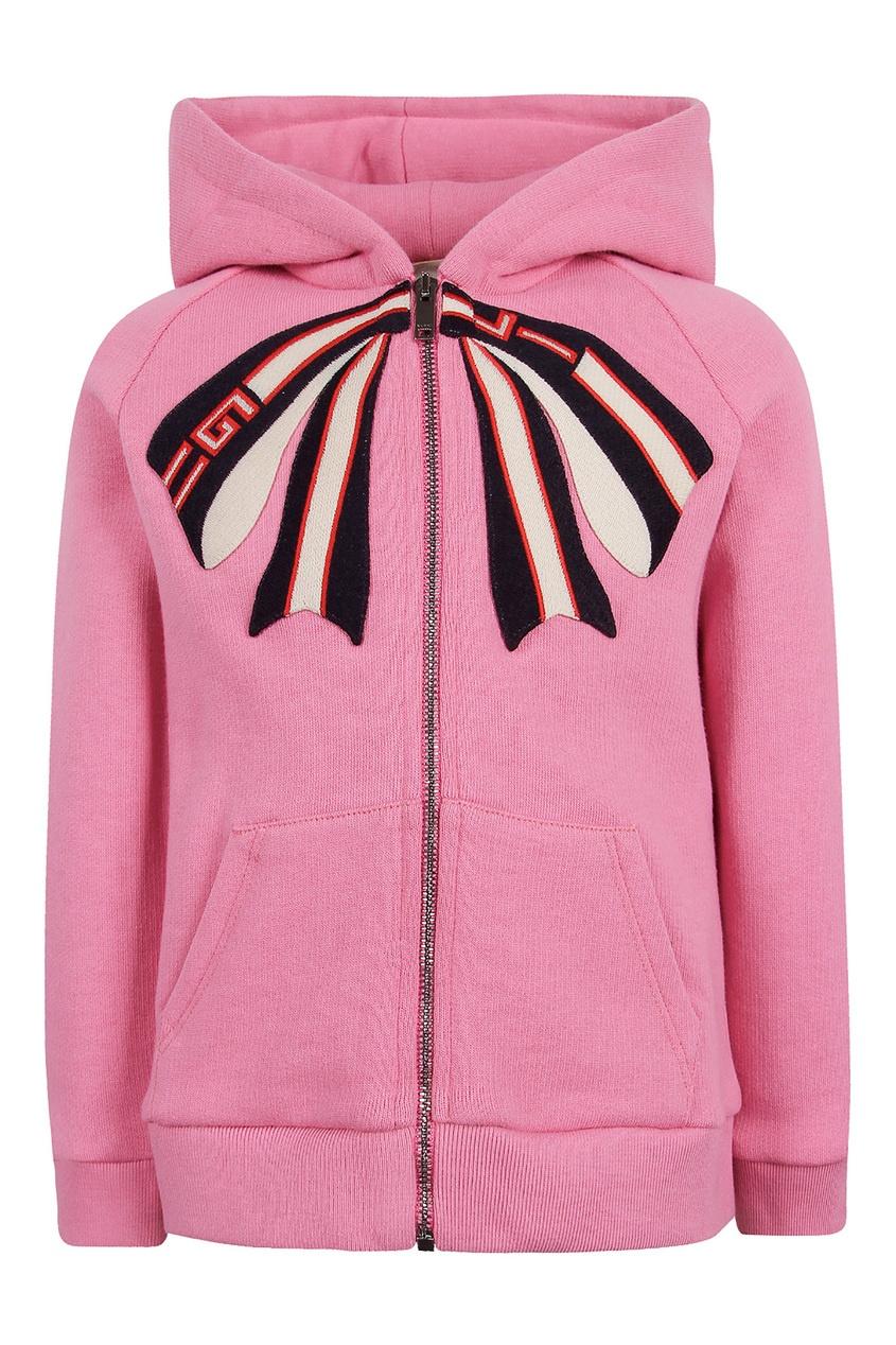 Розовое худи на молнии от Gucci