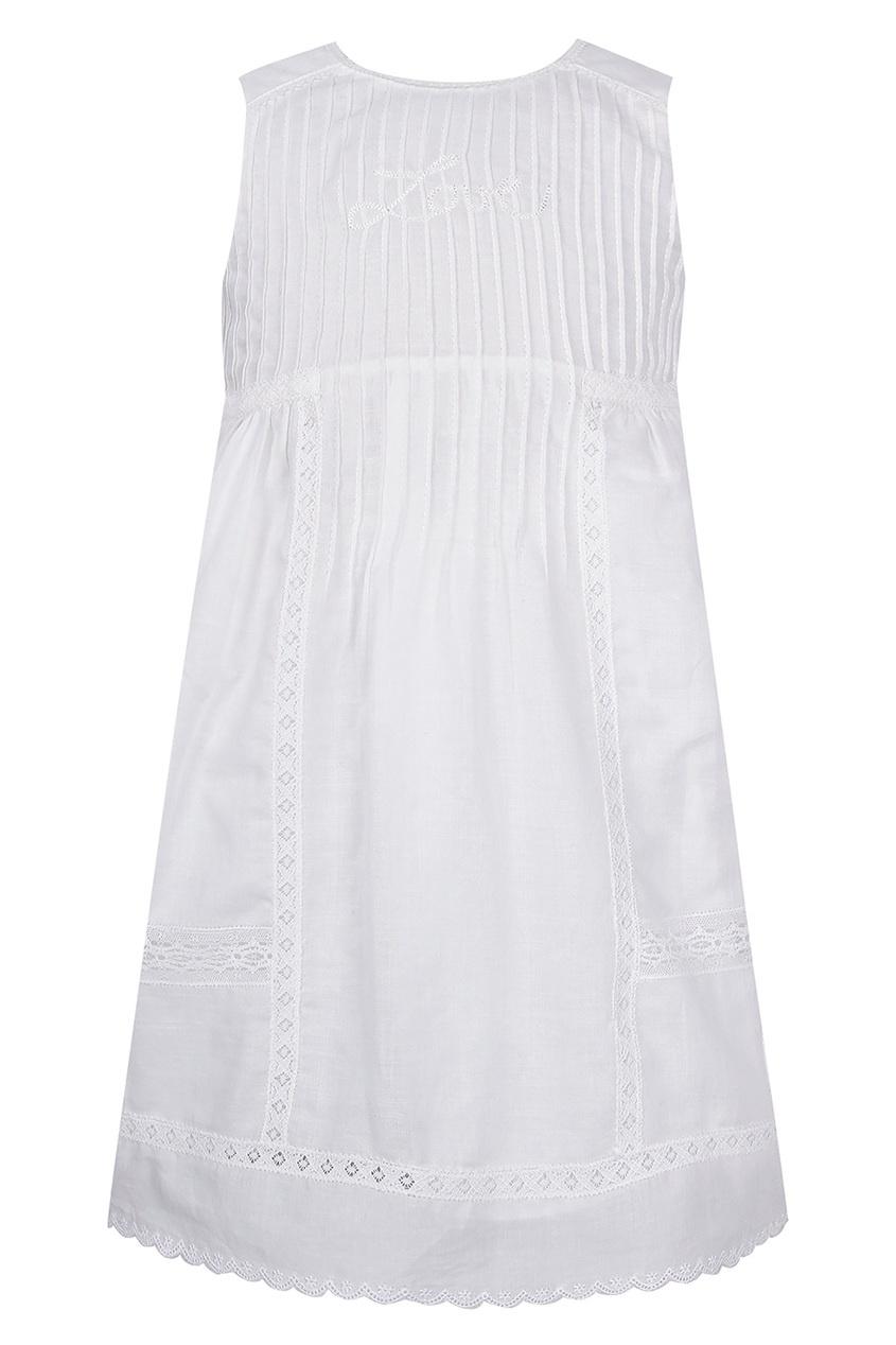 Купить Белое платье с отделкой от Dior Kids белого цвета