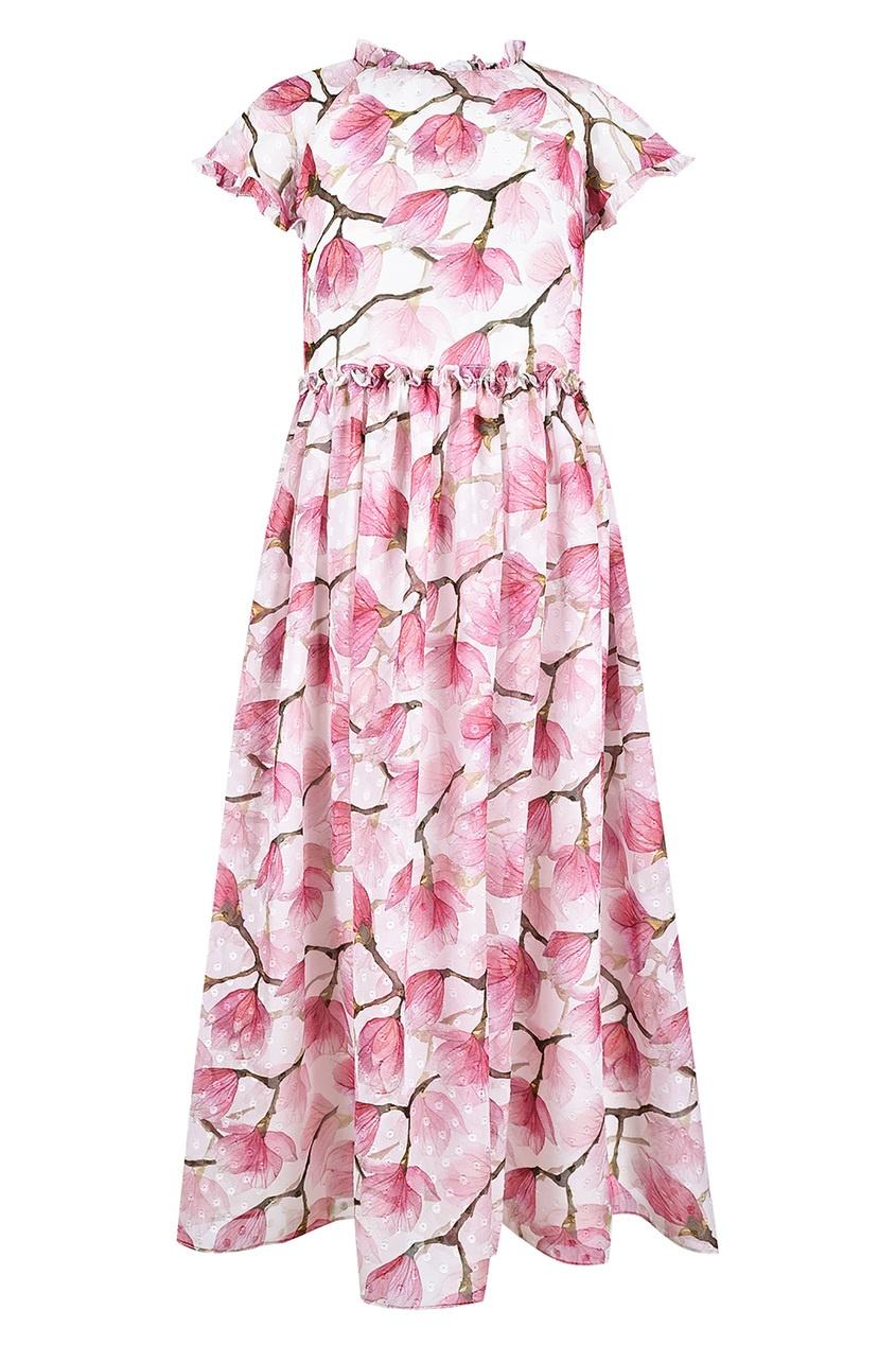 Купить Длинное платье с принтом бежевого цвета