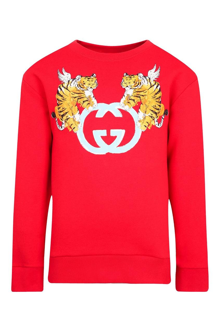 Купить Красный свитшот с принтом от Gucci Kids красного цвета