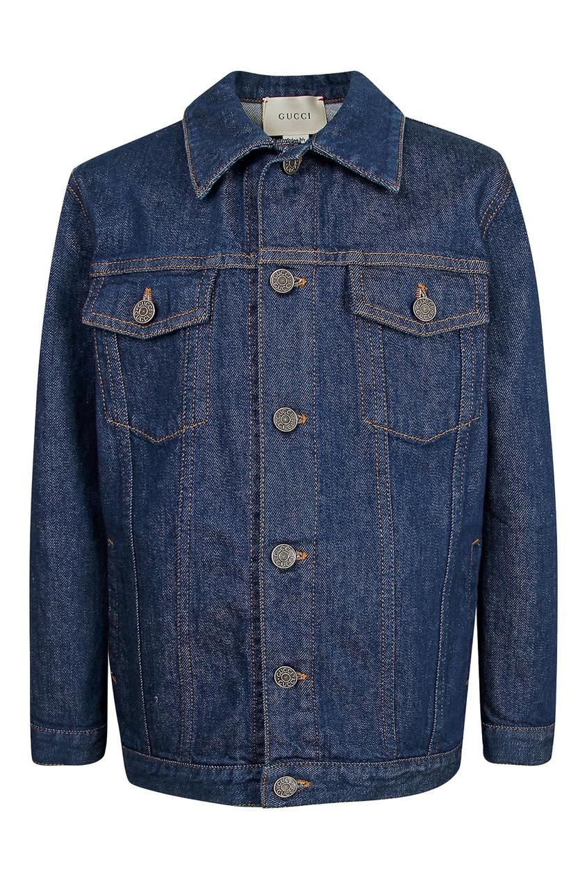 Купить Синяя джинсовая куртка с логотипом от Gucci Kids синего цвета