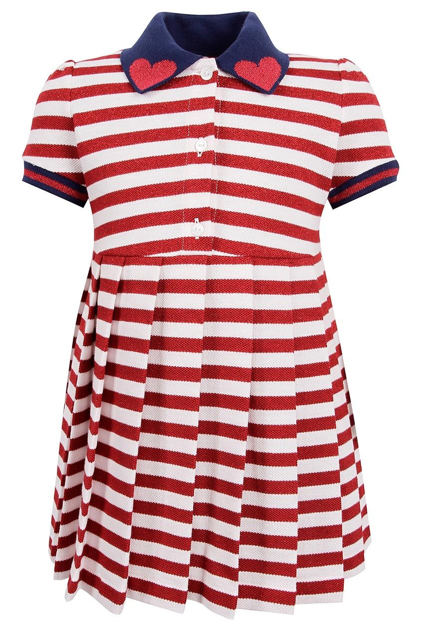 Купить Платье в полоску с контрастным воротником от Gucci Kids цвет multicolor
