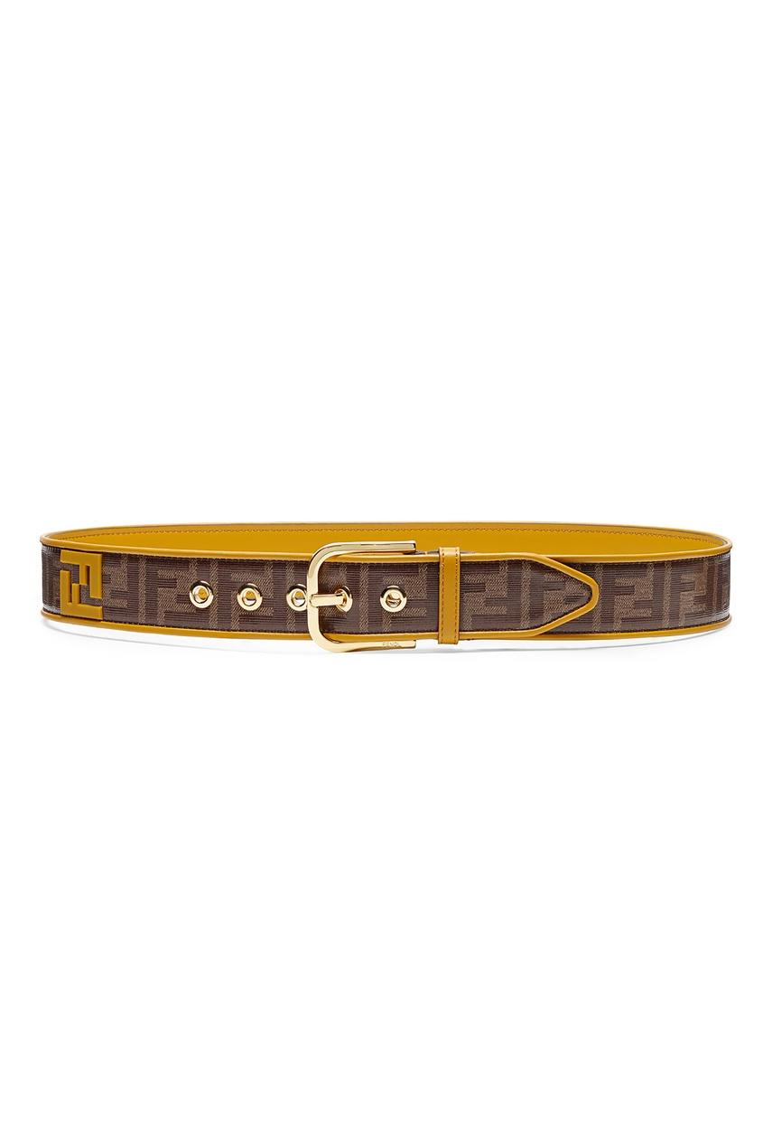 Купить Комбинированный ремень от Fendi коричневого цвета
