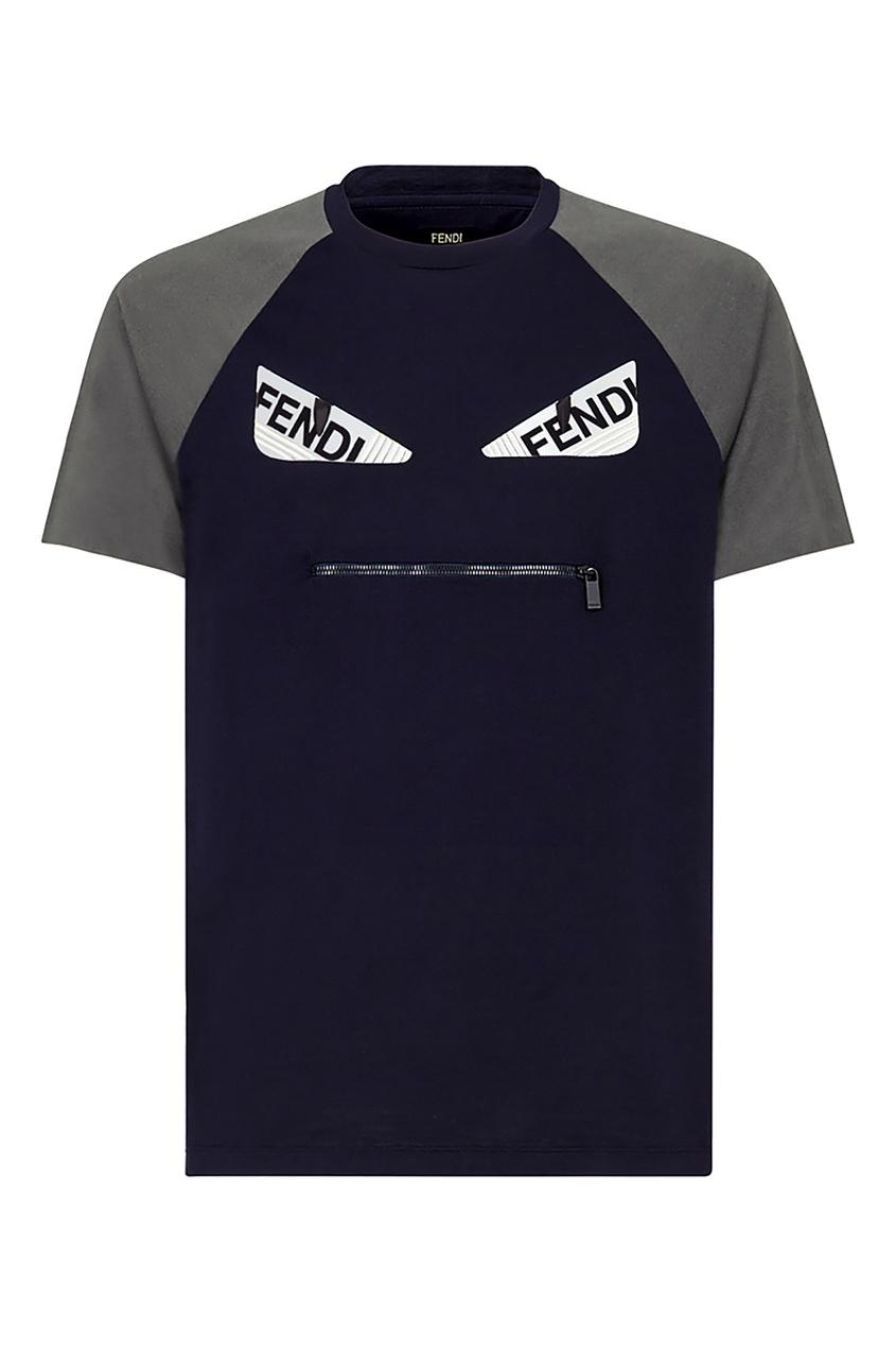 мужская футболка fendi, синяя