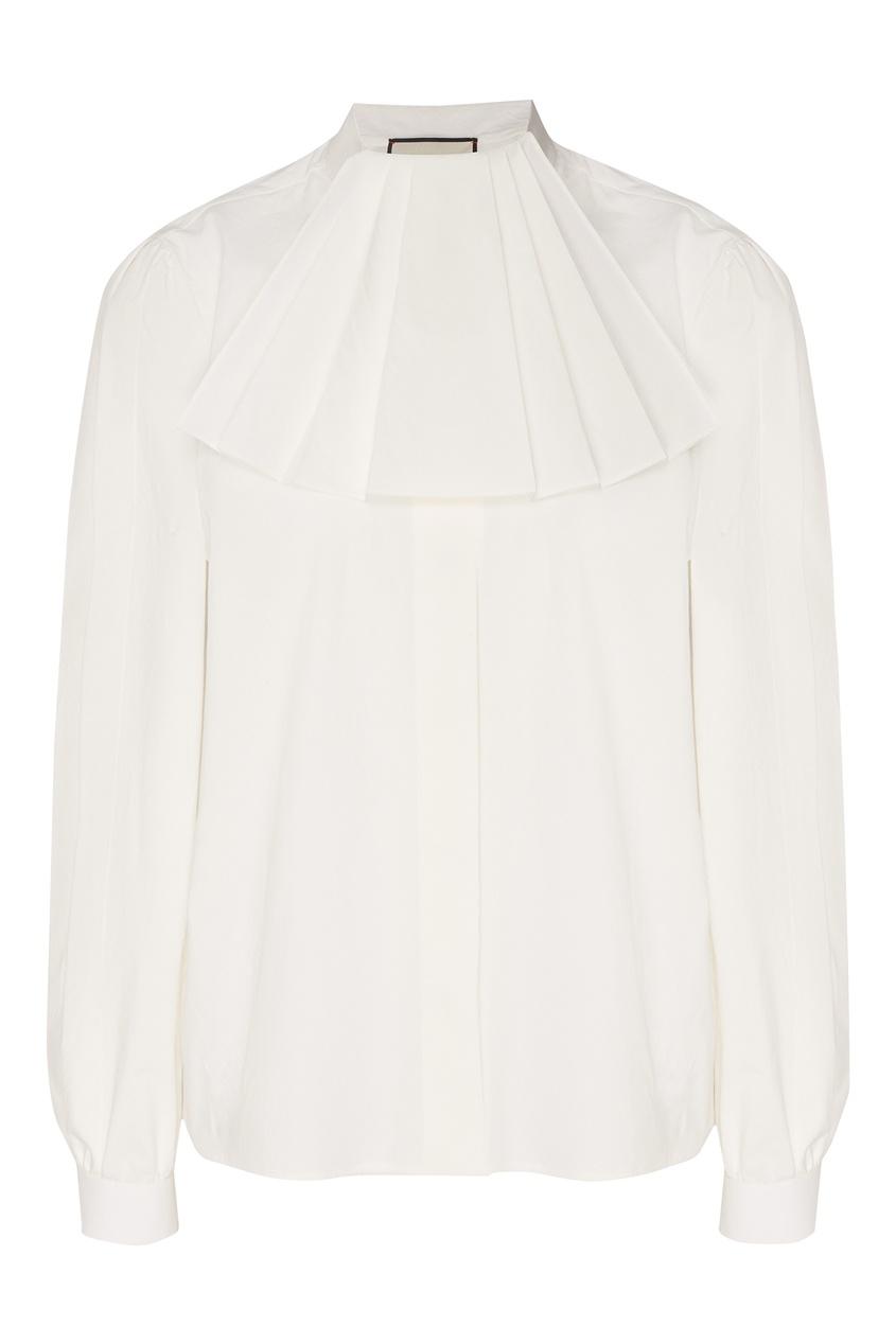 Купить Белая блузка с оборкой от Gucci белого цвета