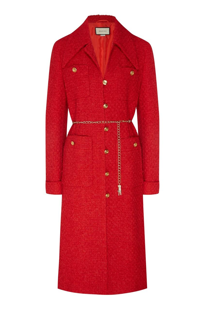 Красное фактурное пальто