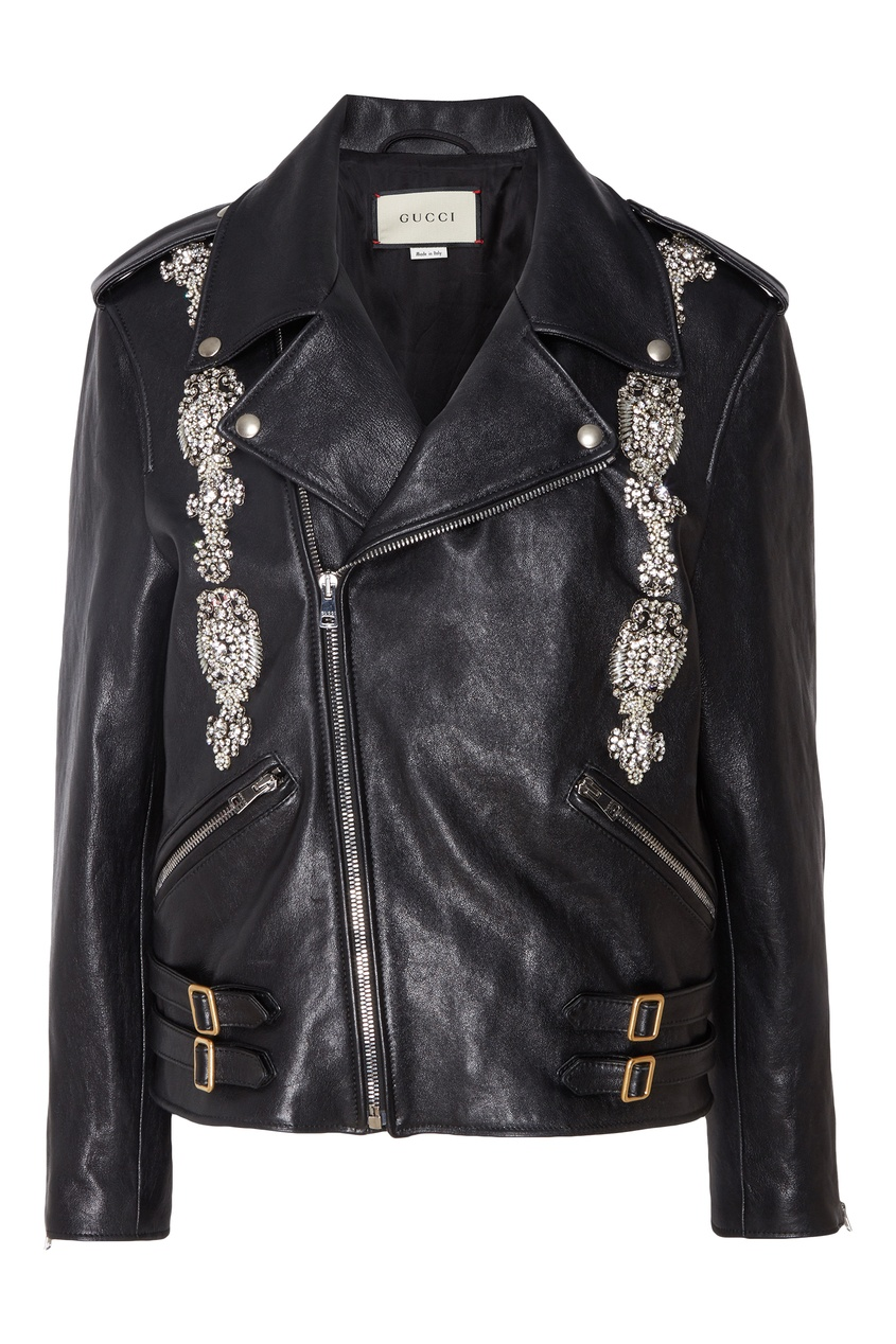 Купить Байкерская куртка с отделкой от Gucci черного цвета