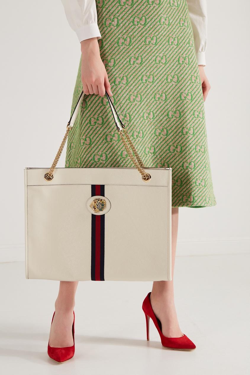 Фото 3 - Белая сумка Rajah от Gucci белого цвета