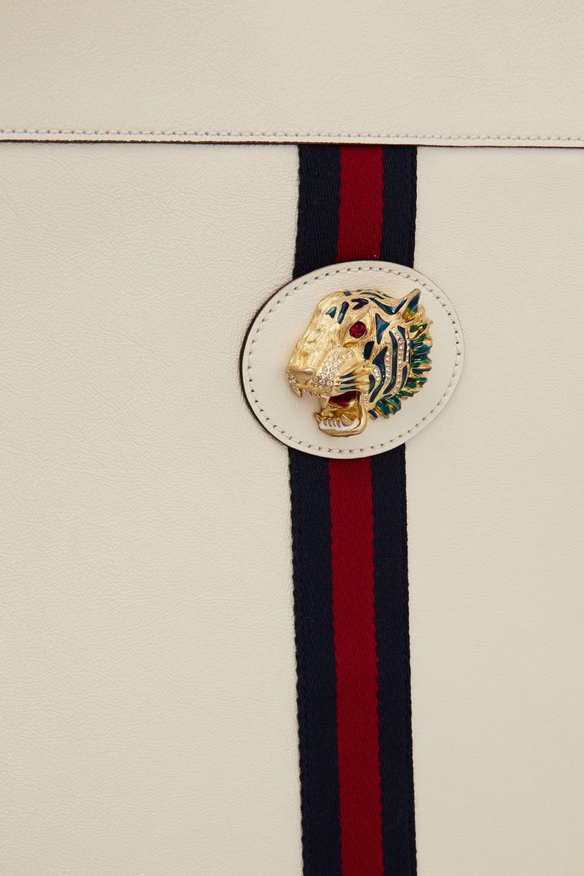 Фото 4 - Белая сумка Rajah от Gucci белого цвета