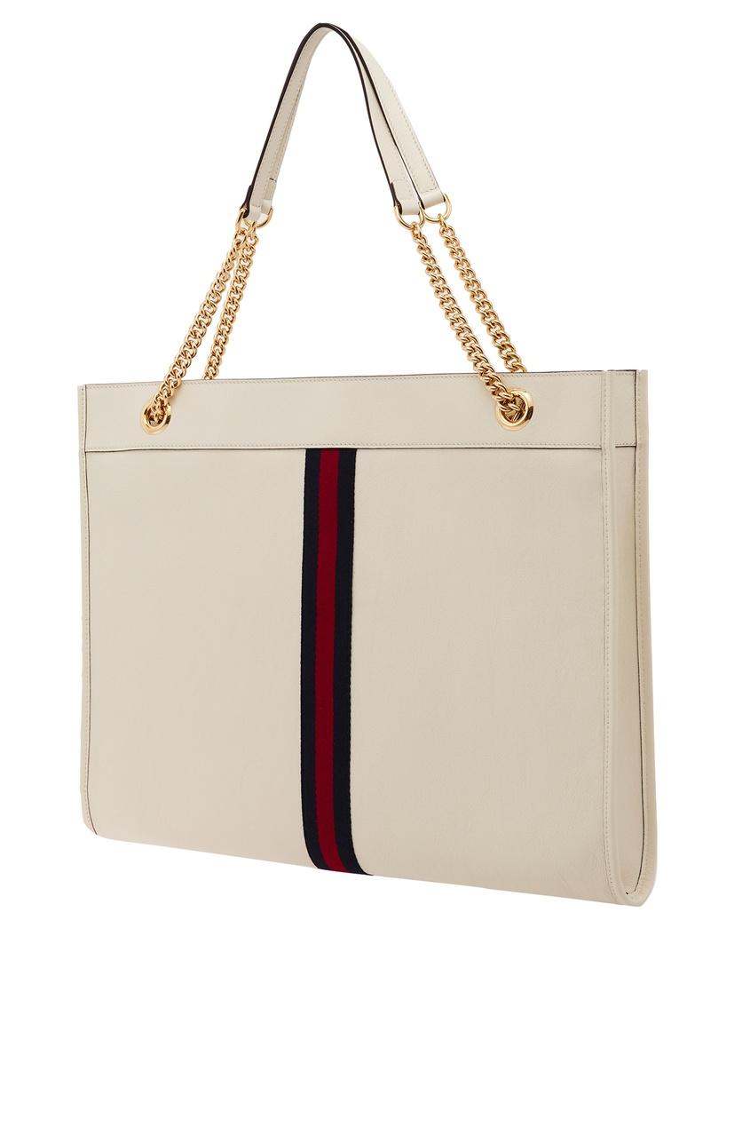 Фото 5 - Белая сумка Rajah от Gucci белого цвета