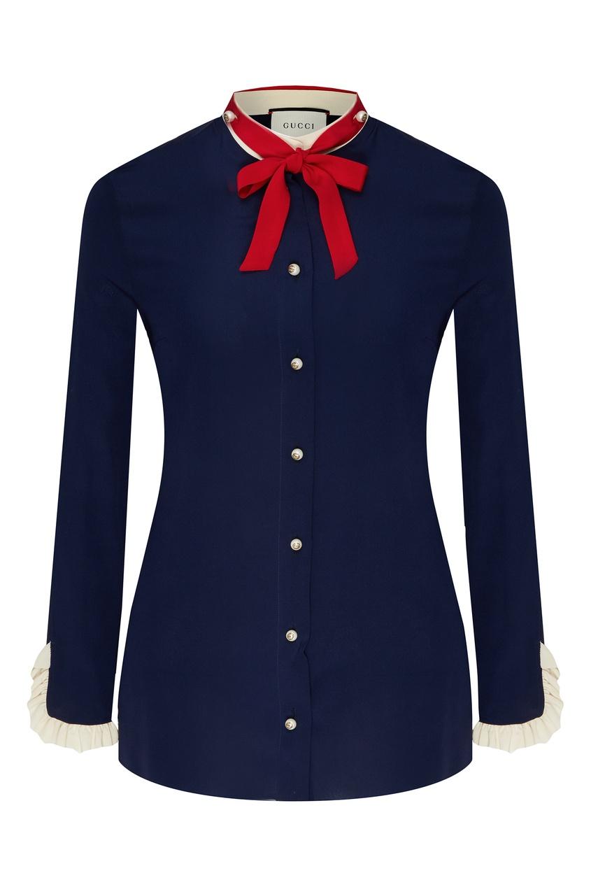Синяя блузка с завязкой