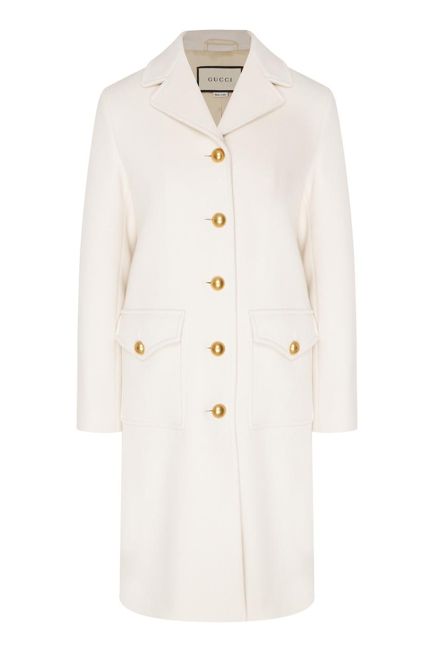 Фото - Белое шерстяное пальто от Gucci красного цвета
