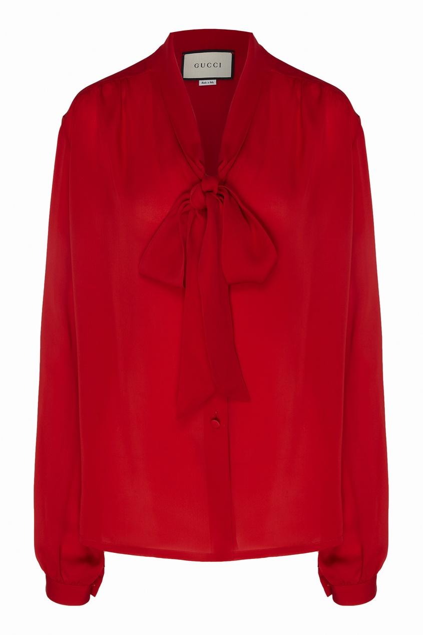 Купить Красная шелковая блузка от Gucci красного цвета