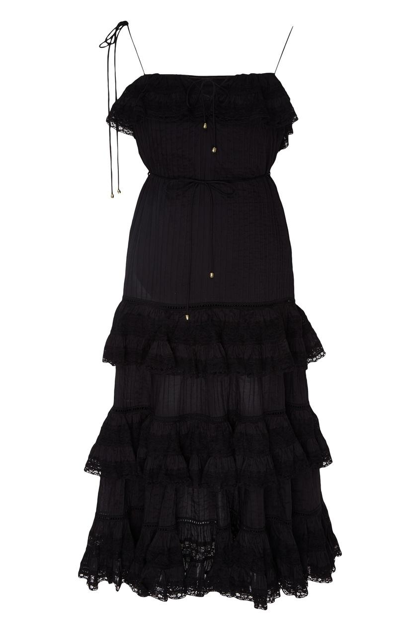 Купить Кружевное мини-платье с оборками черного цвета