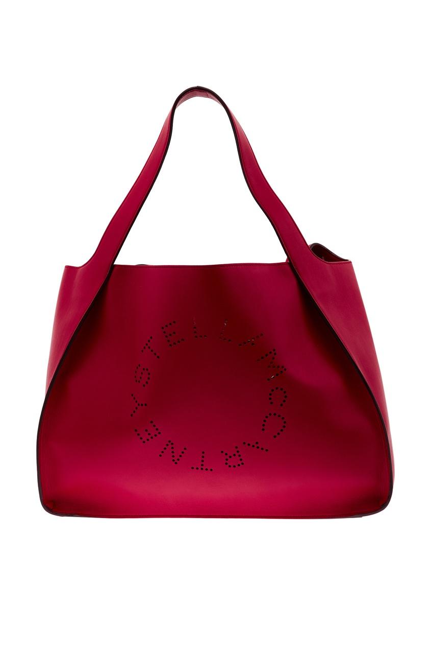 Купить Красная сумка-тоут с логотипом от Stella McCartney красного цвета