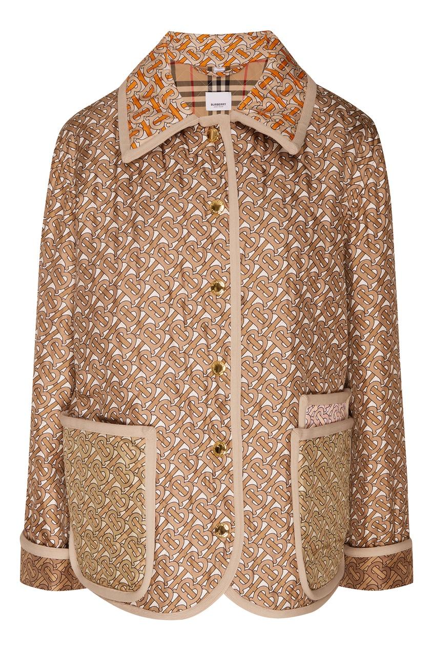 Купить Шелковая куртка с отделкой от Burberry бежевого цвета