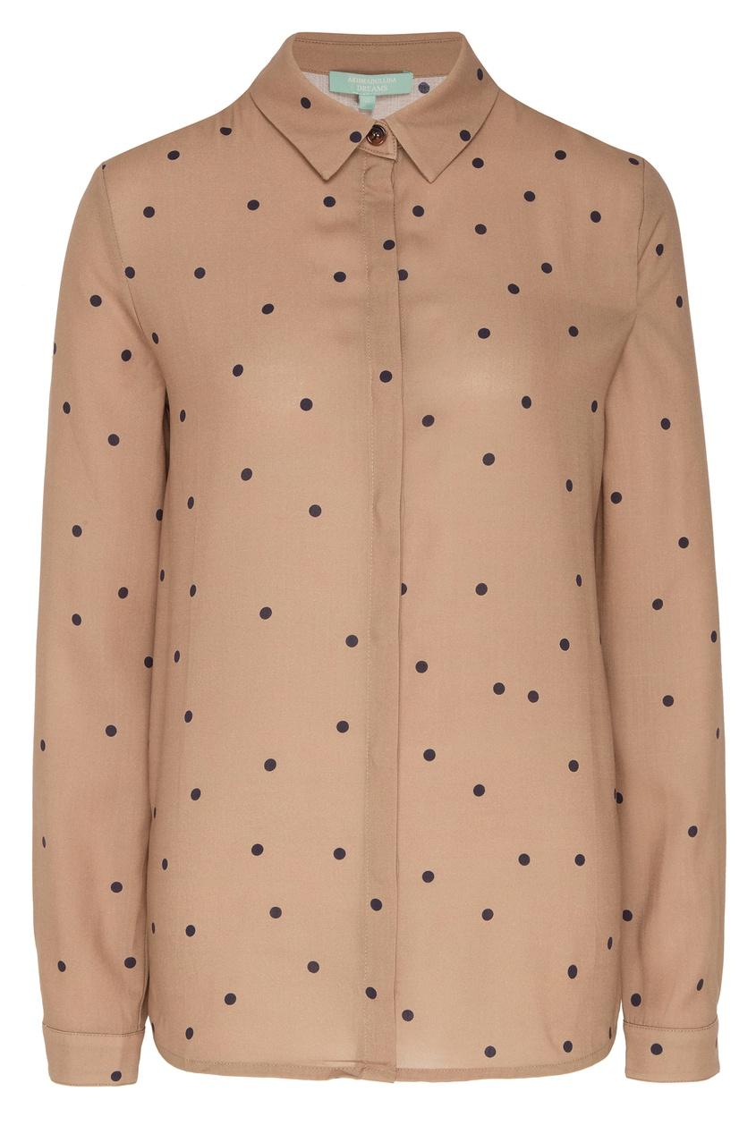 Купить Бежевая блузка в горошек бежевого цвета