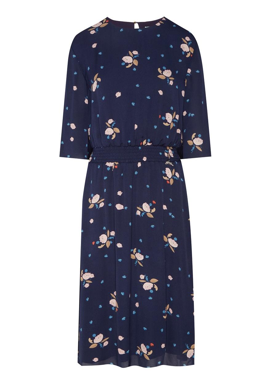 Купить Синее платье с цветочным принтом синего цвета