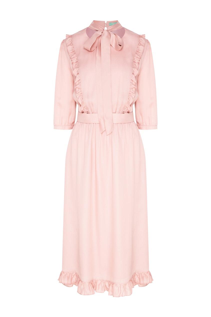 Купить Розовое платье с рюшами розового цвета