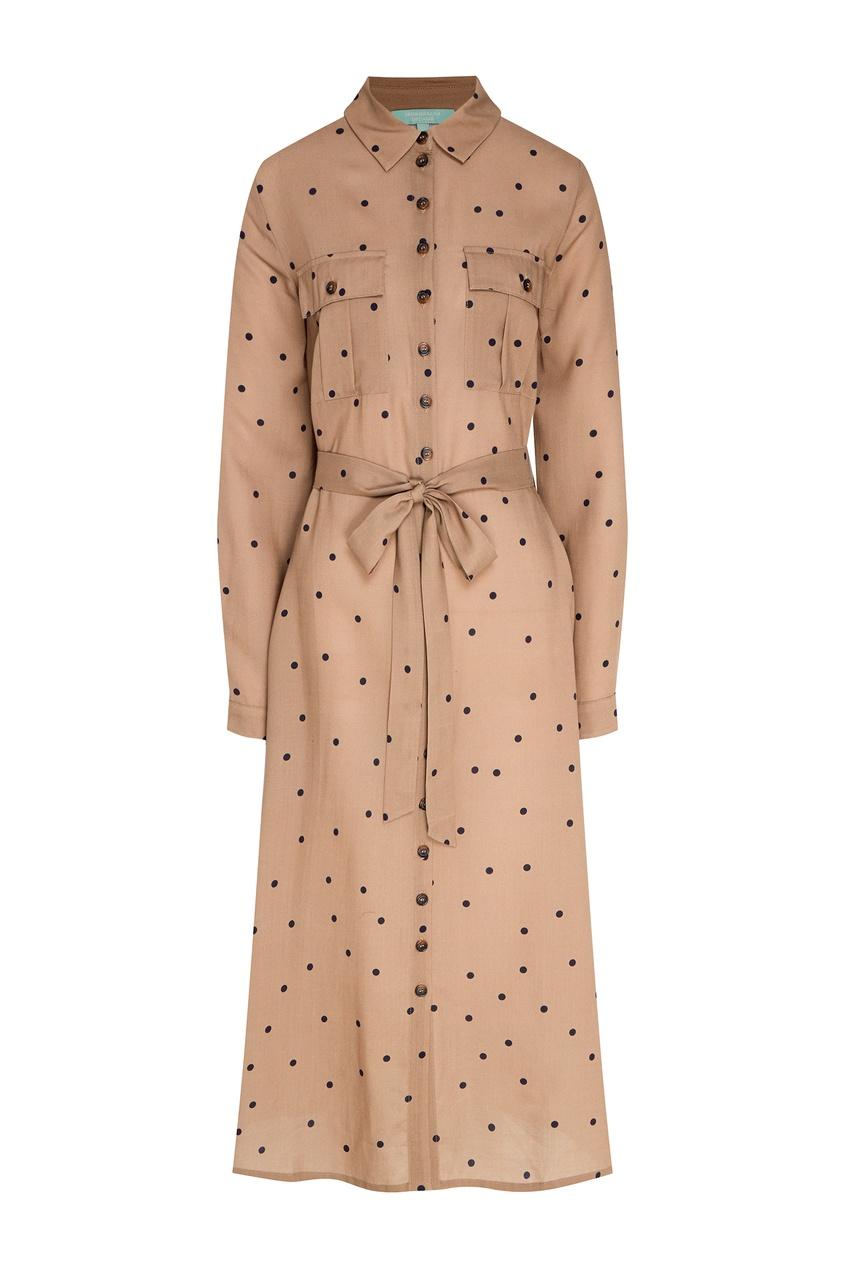 Купить Бежевое платье в горошек бежевого цвета