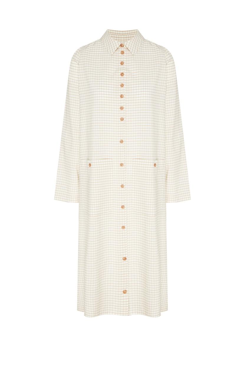 Купить Платье-рубашка в клетку белого цвета