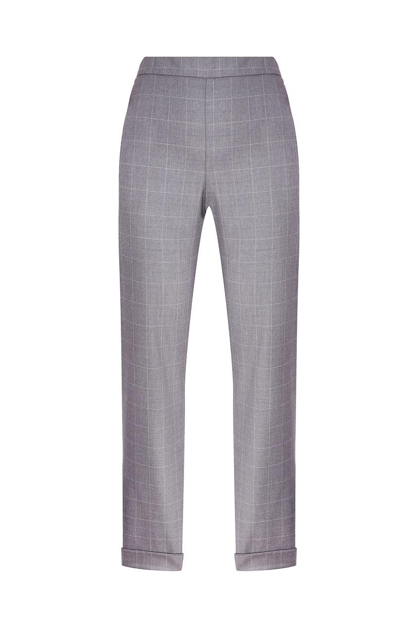 Фото - Серые брюки в клетку серого цвета