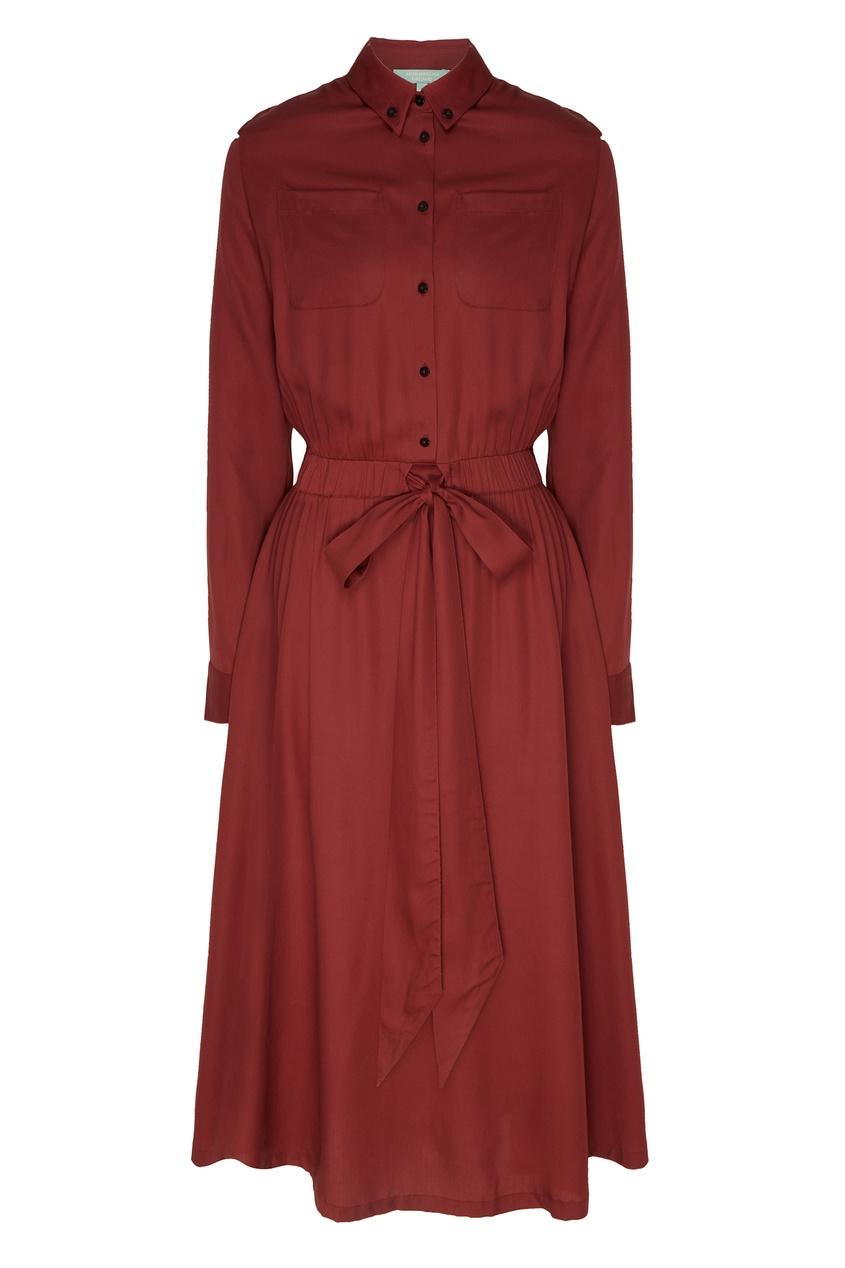 Купить Бордовое платье-рубашка красного цвета