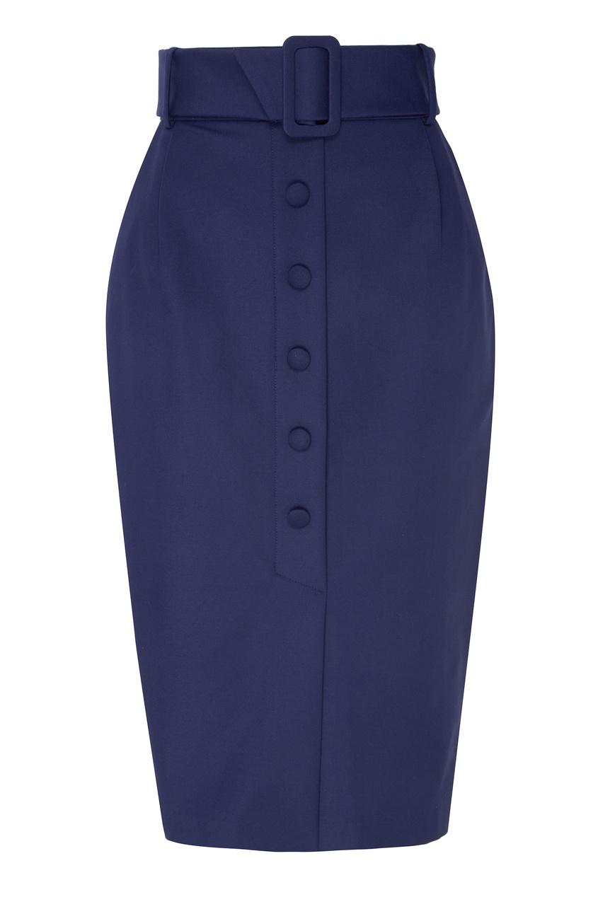 Купить Синяя юбка с пуговицами синего цвета
