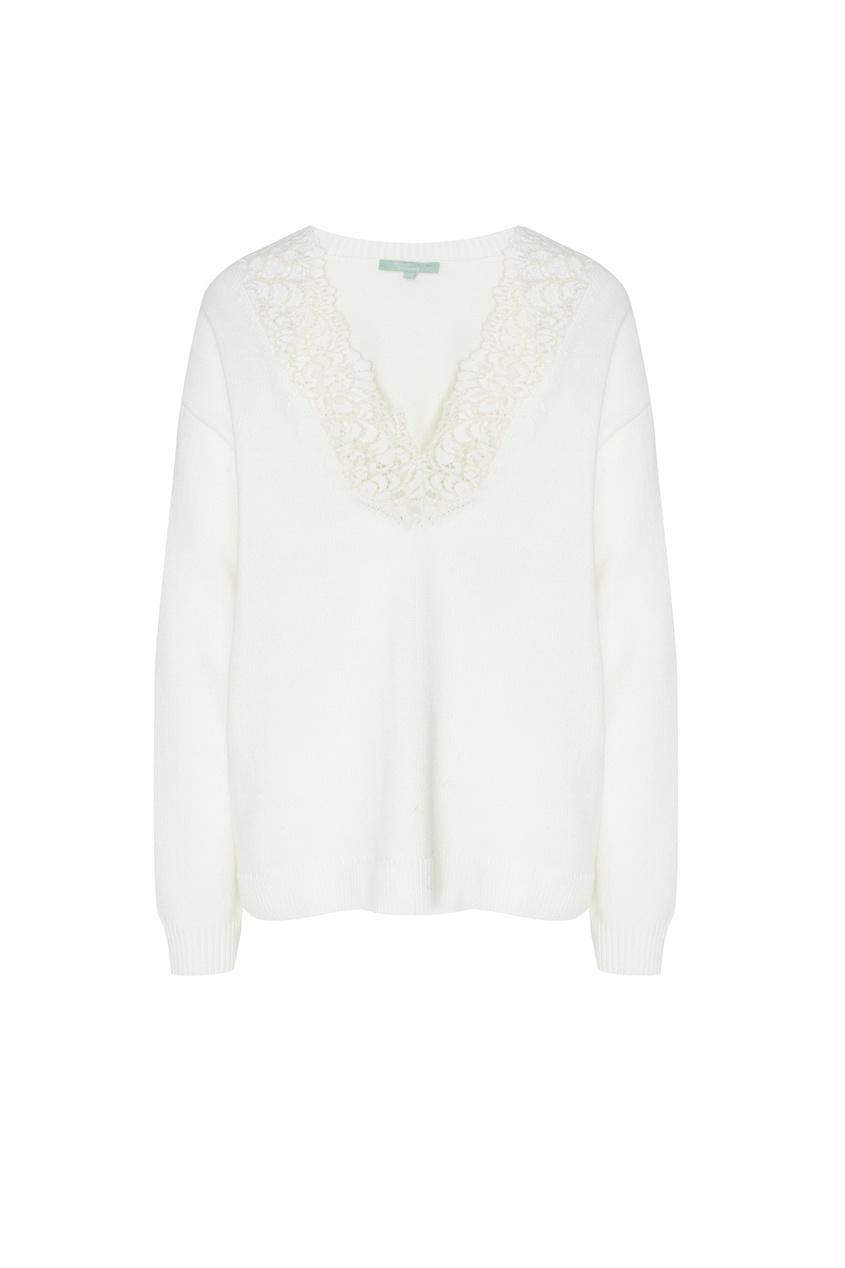 Купить Белый пуловер с кружевной отделкой белого цвета