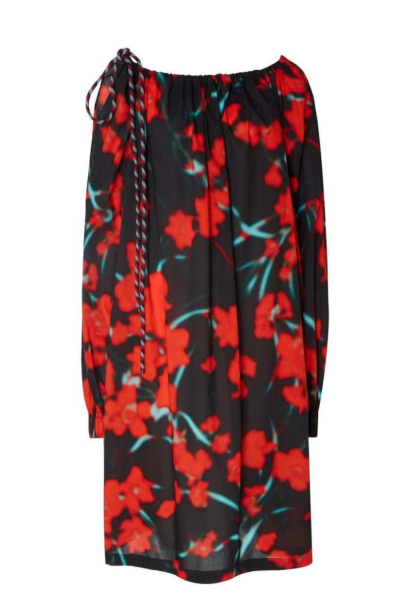 Фото - Объемное платье с принтом от Dries Van Noten цвет multicolor
