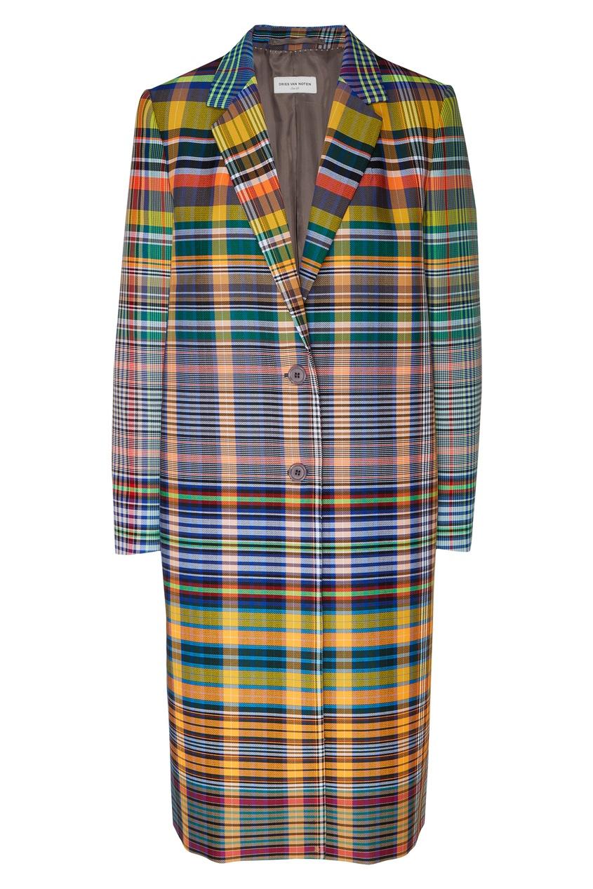 Купить Пальто в клетку от Dries Van Noten цвет multicolor