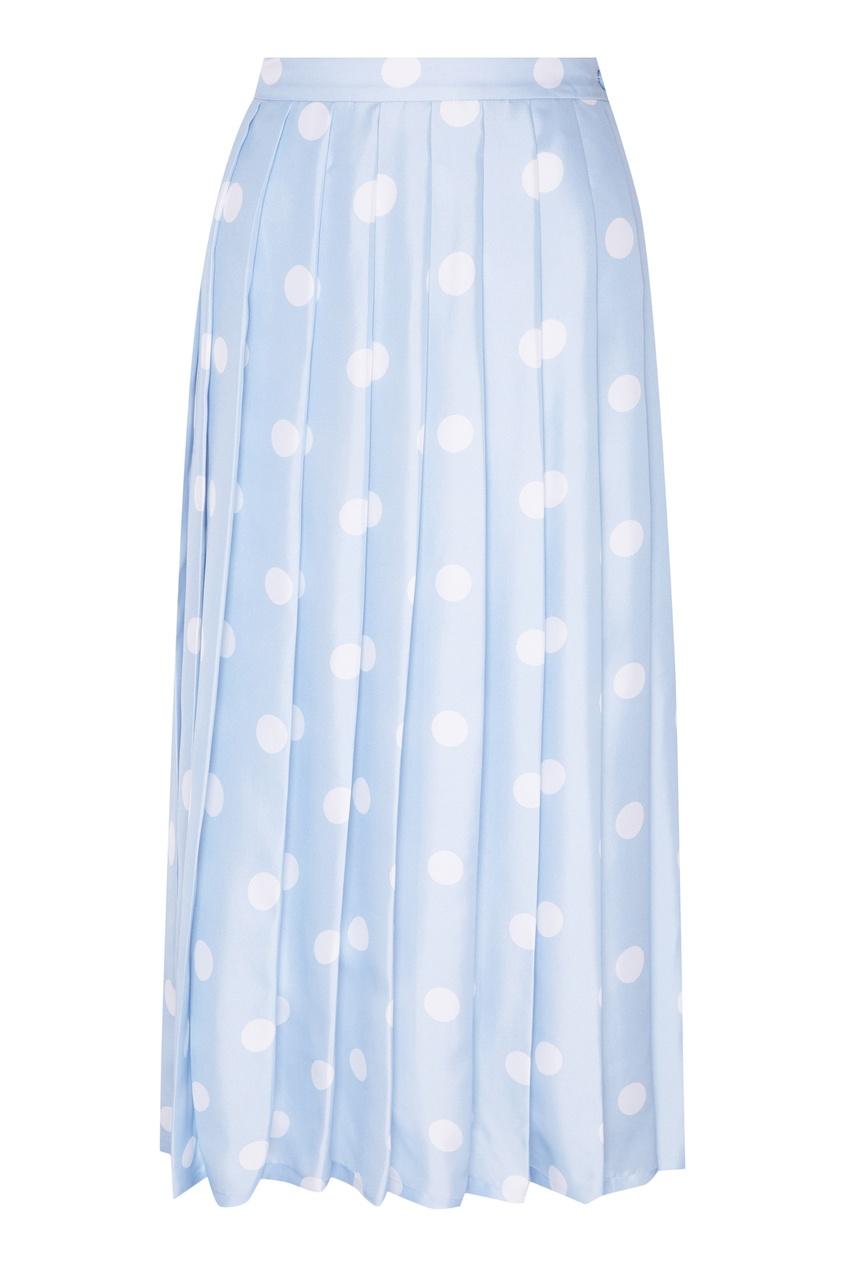 Фото - Шелковая юбка-плиссе от Alexander Terekhov голубого цвета