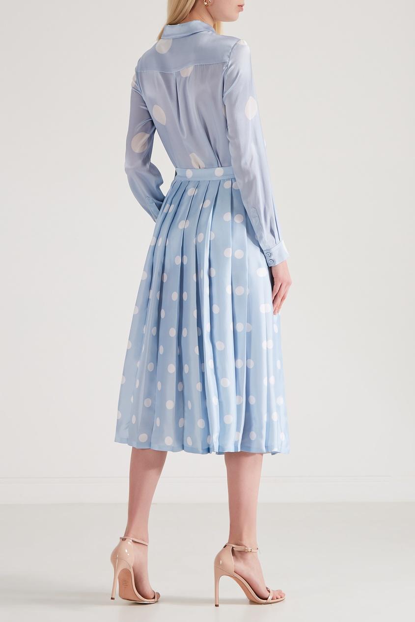 Фото 3 - Шелковая юбка-плиссе от Alexander Terekhov голубого цвета