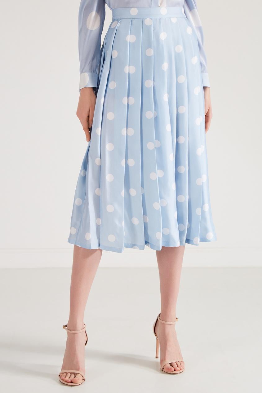 Фото 4 - Шелковая юбка-плиссе от Alexander Terekhov голубого цвета