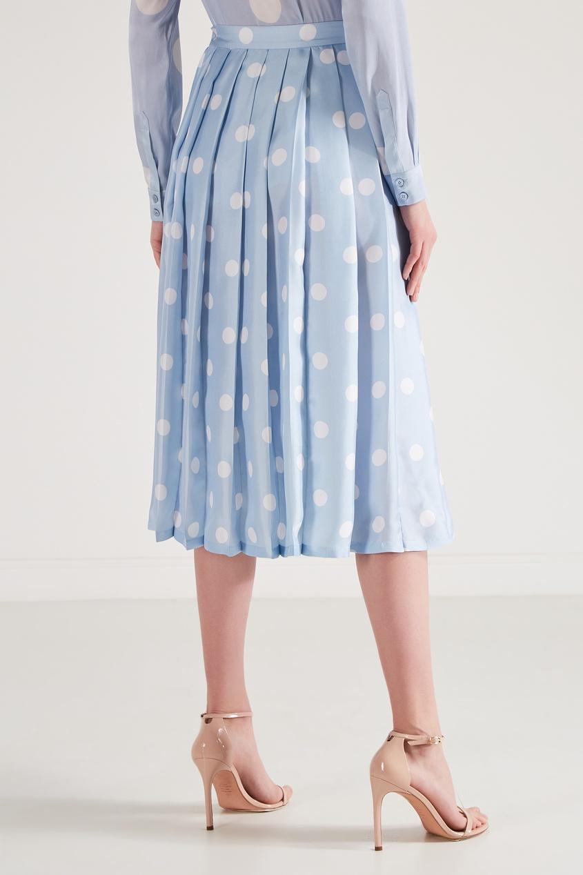 Фото 5 - Шелковая юбка-плиссе от Alexander Terekhov голубого цвета