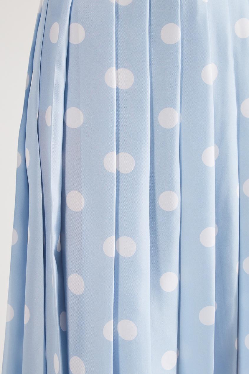 Фото 6 - Шелковая юбка-плиссе от Alexander Terekhov голубого цвета
