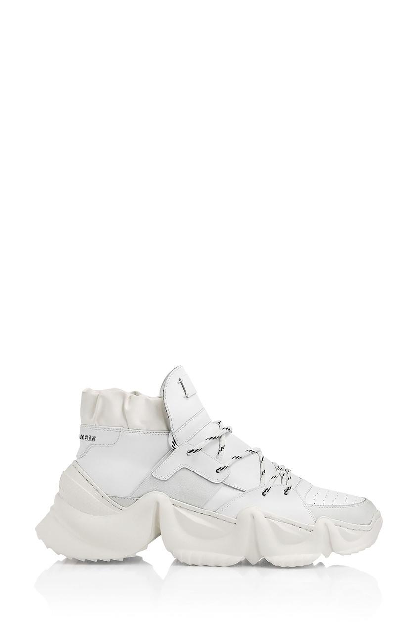 Купить Белые кроссовки с массивной подошвой от Philipp Plein белого цвета