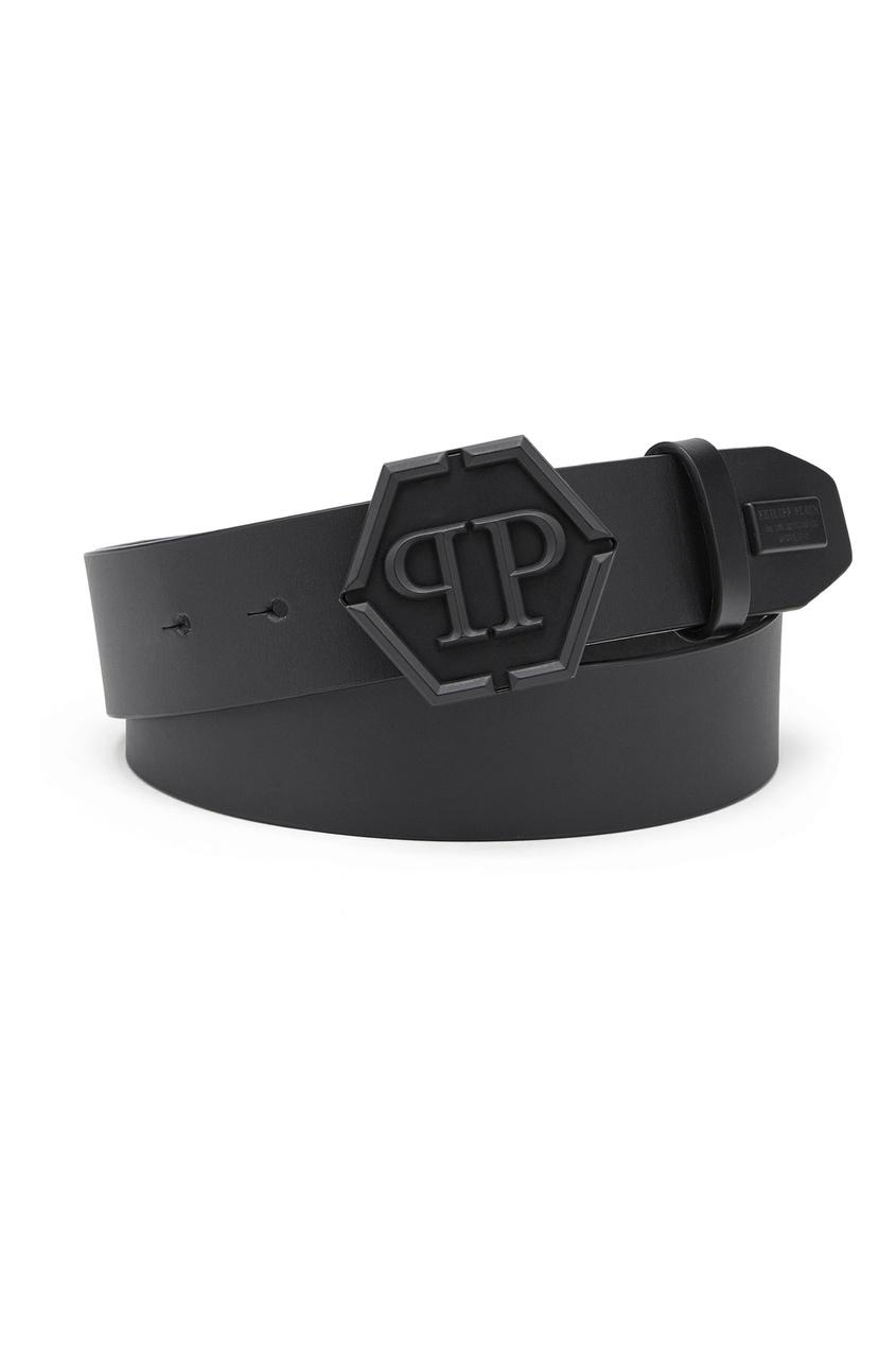 Черный ремень с логотипом Philipp Plein