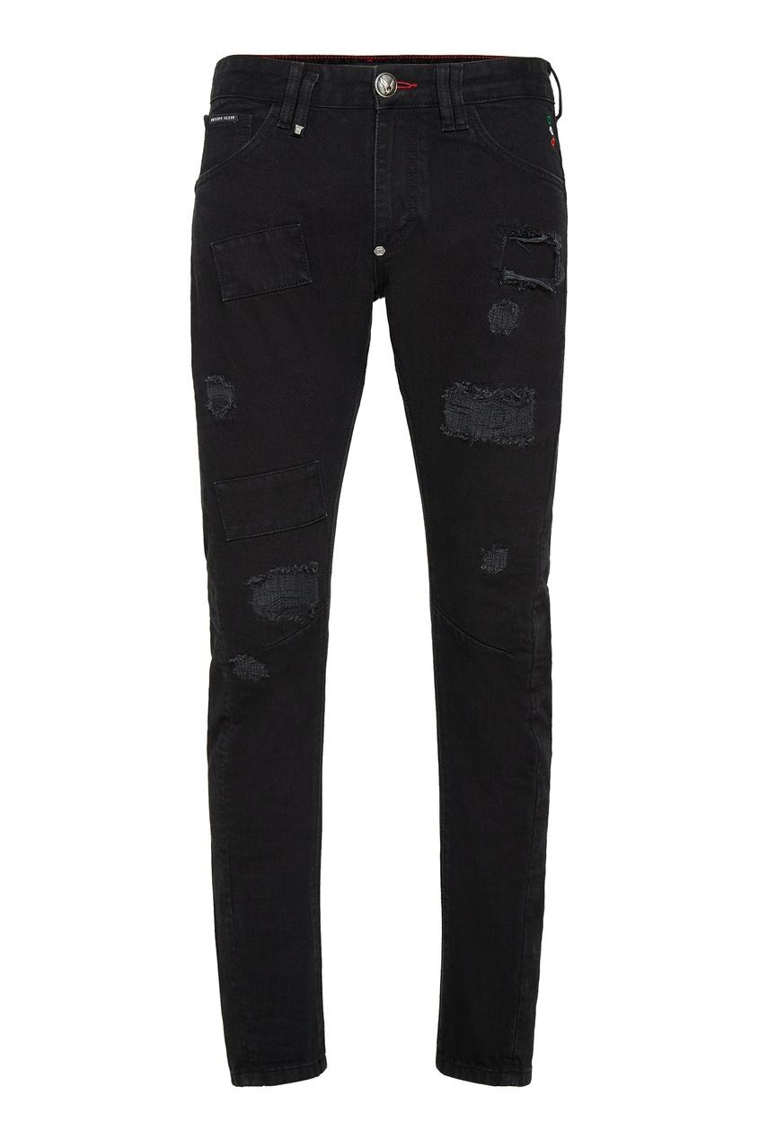 Купить Черные джинсы с прорезями от Philipp Plein черного цвета