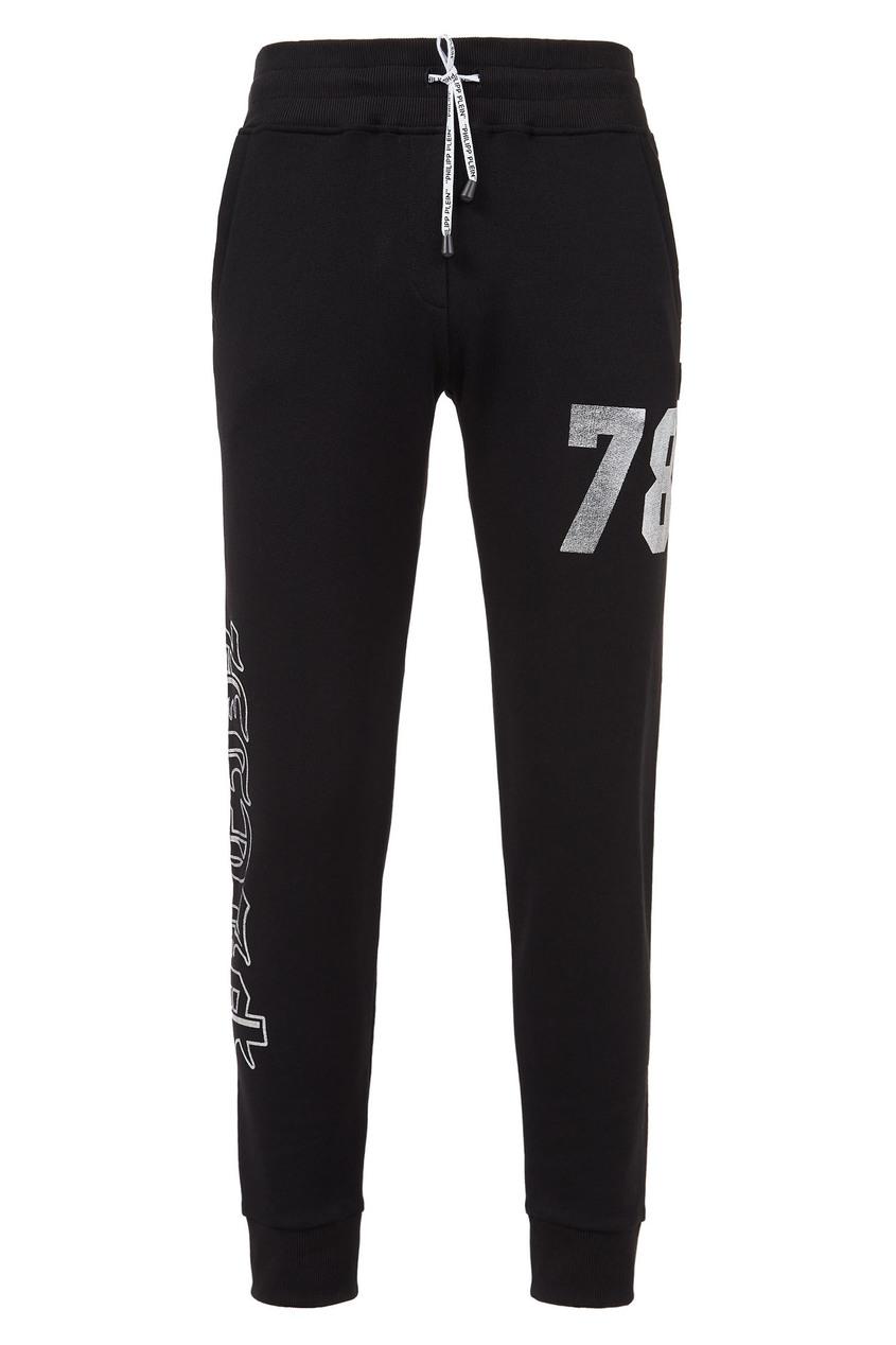 Купить Трикотажные брюки с отделкой от Philipp Plein черного цвета