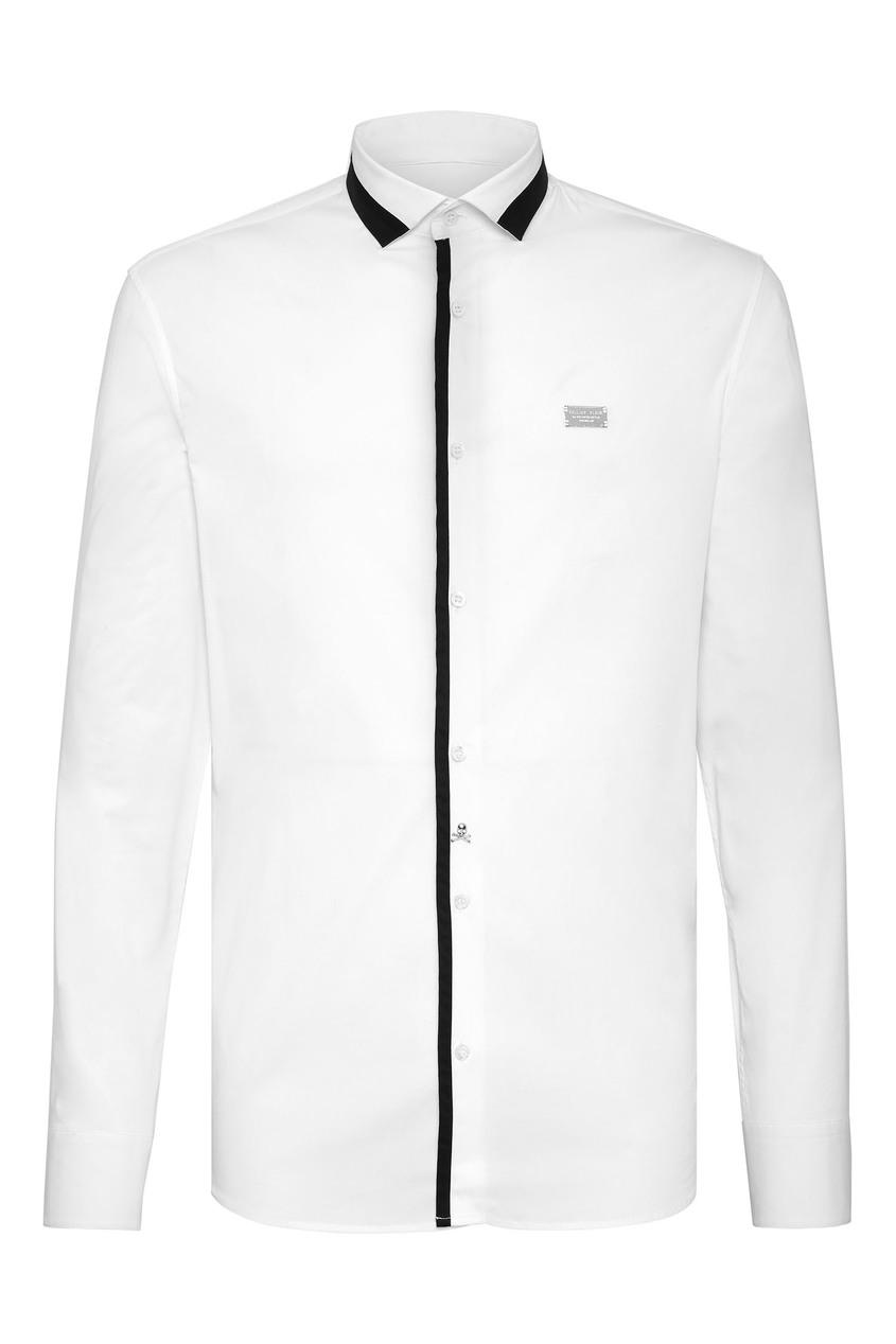 Купить Белая рубашка с контрастной отделкой от Philipp Plein белого цвета