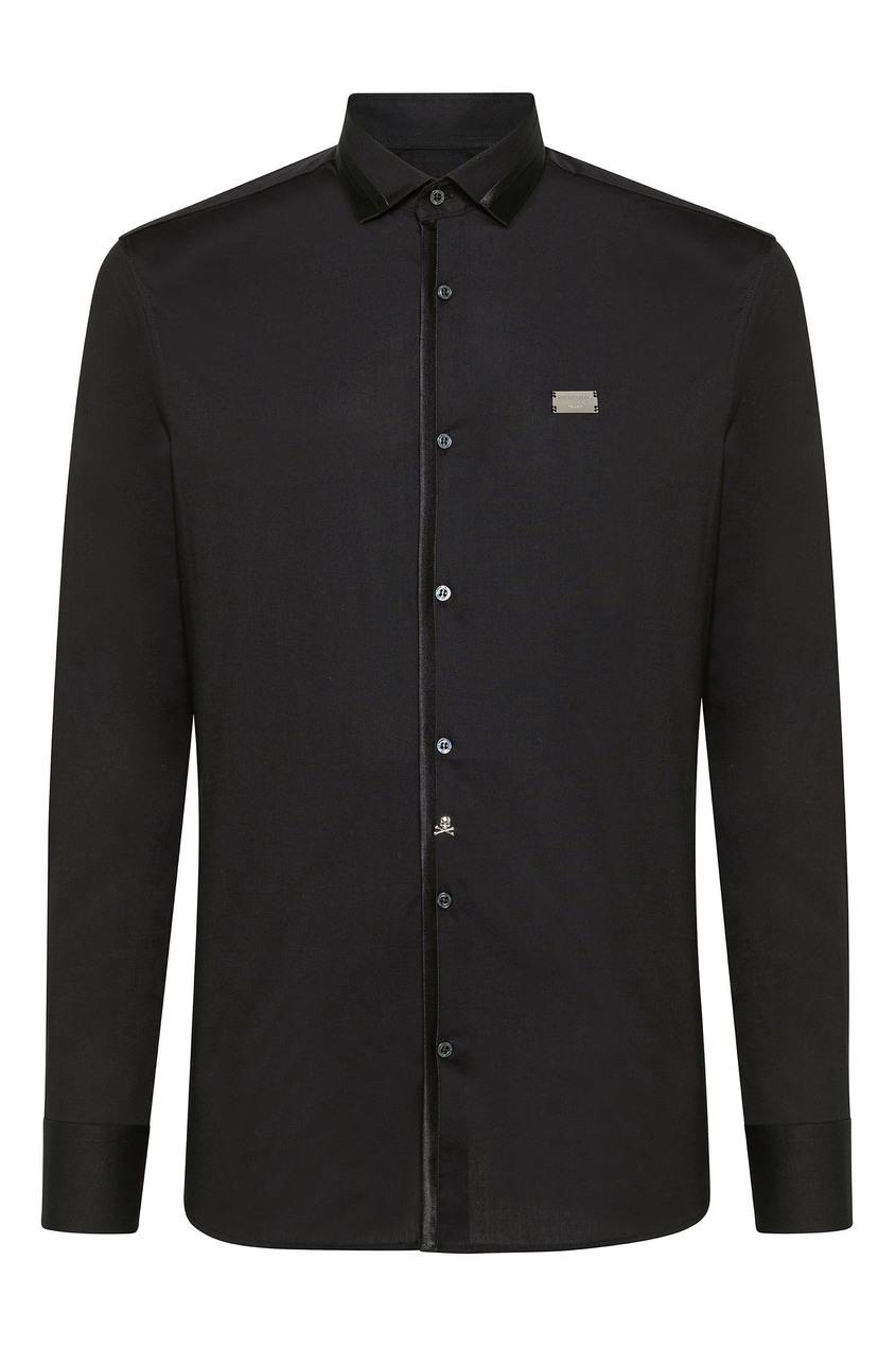 Купить Черная рубашка с отделкой от Philipp Plein черного цвета