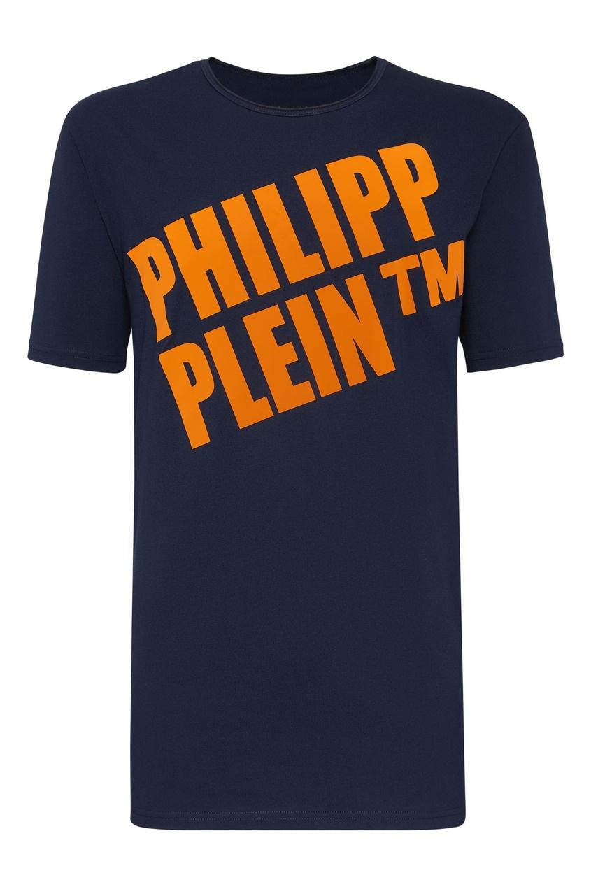 Купить Синяя футболка с логотипом от Philipp Plein синего цвета