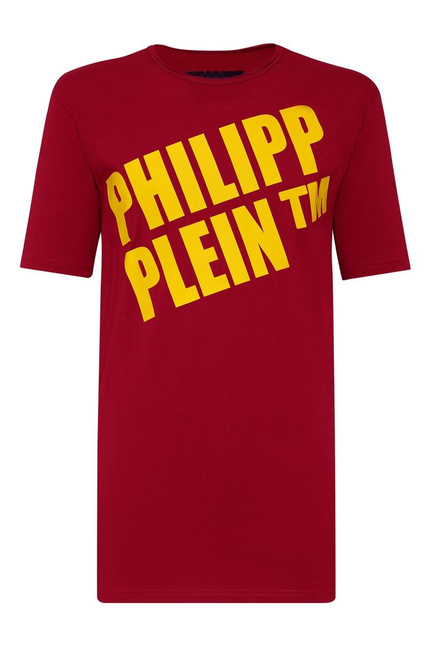 Купить Красная футболка с желтым логотипом от Philipp Plein красного цвета