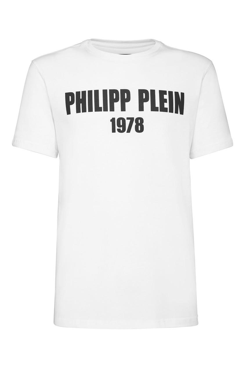 Купить Белая футболка с контрастным логотипом от Philipp Plein белого цвета