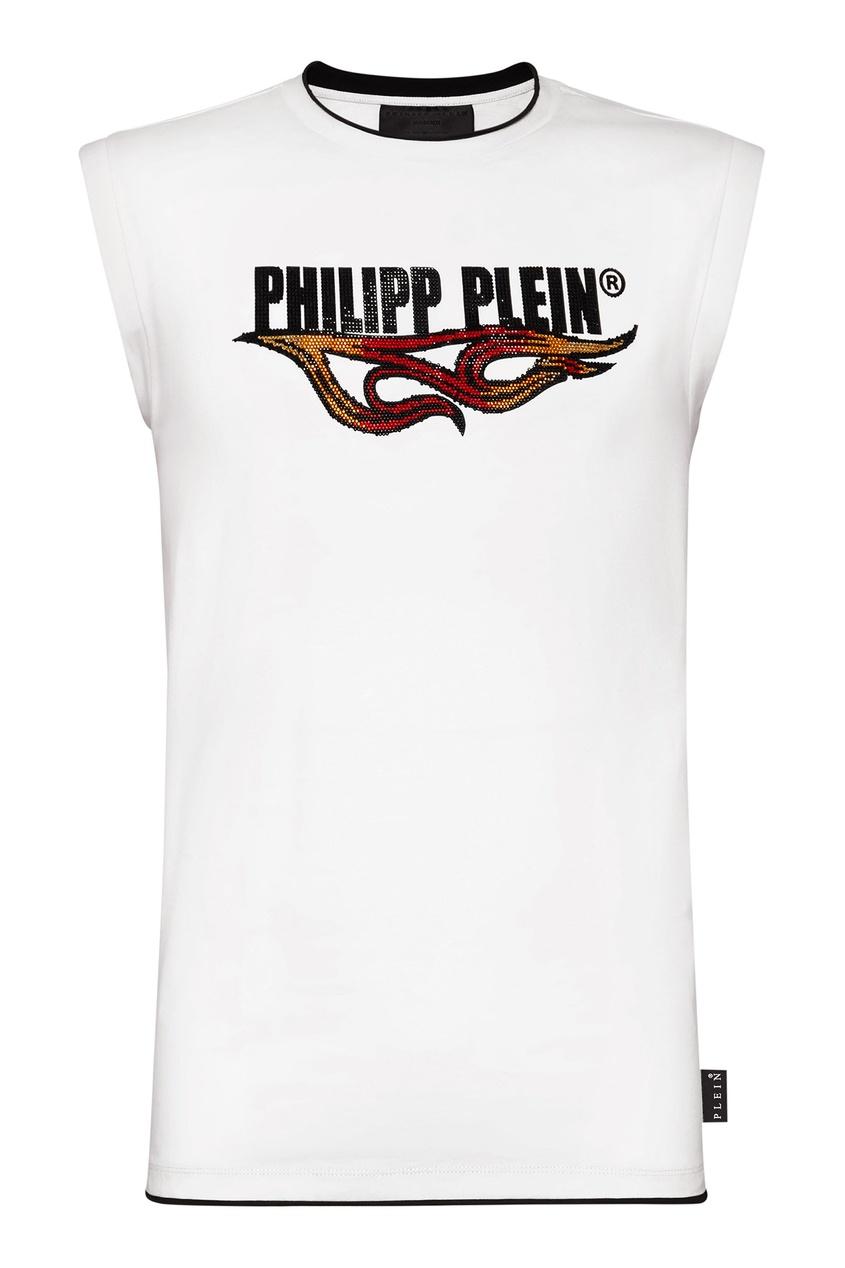 Купить Белая майка с принтом и стразами от Philipp Plein белого цвета