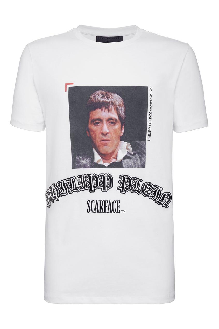Купить Белая футболка с логотипом и принтом от Philipp Plein белого цвета